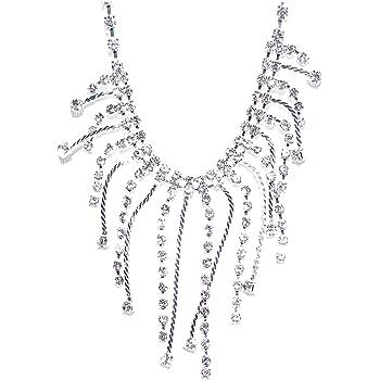 Anklet 81643ACR-S V G S Eternity Fashions Fashion Jewelry ~Silvertone Rhinestone Fringe Anklet