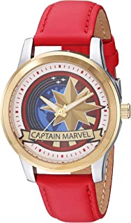 Marvel Men's Captain Analog-Quartz Watch with Leather-Synthetic Strap, red, 18.3 (Model: WMA000321