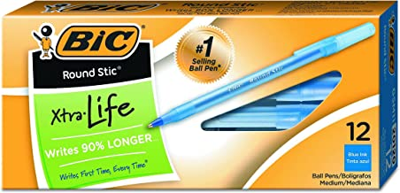 BIC Round Stic Xtra Precision Ball Pen, Fine Point (0.8 mm), Blue, 12-Count