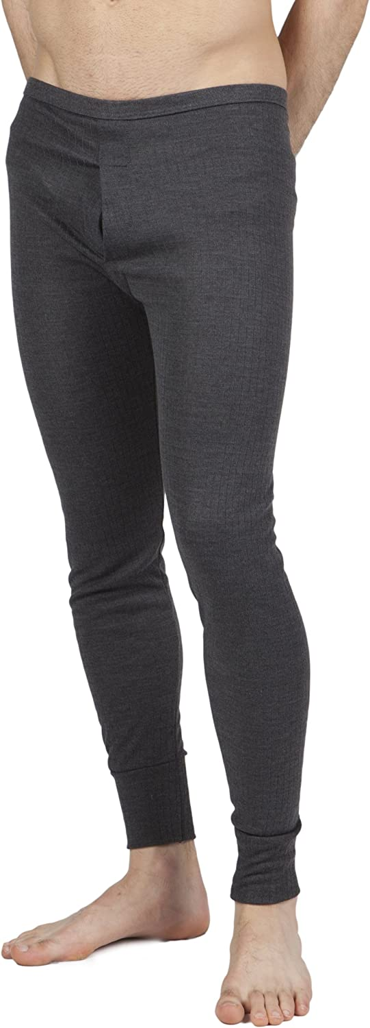 Mens Thermal Underwear Long Johns (British Made) (Waist: 36-38inch (Large)) (Charcoal)