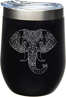 C M Elephant 12 oz. Double Insulated Stainless Steel Stemless Wine Tumbler with Lid-Laser Engraved- Black Powder Coated Tumbler (black elephant)