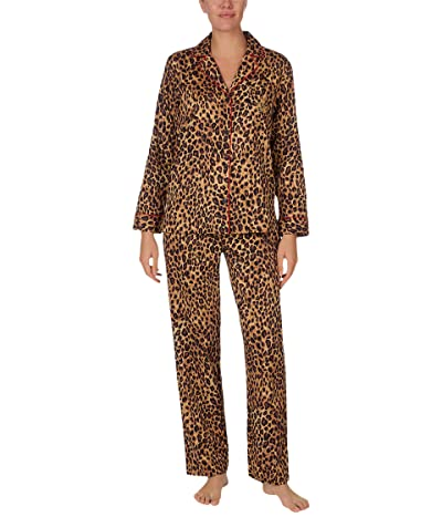 LAUREN Ralph Lauren Sateen Long Sleeve Notch Collar Pajama Set (Leopard) Women