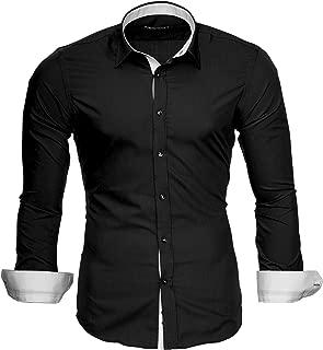 Camisa del Negocio Manga Larga Slim Fit Para Hombre Contrastes de Color Modell 202