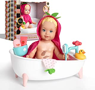 FAO Schwarz Baby Doll Bubbles Bathtime Set, 9 Pieces, Washes Clean with Warm Water, Foaming Bathtub Faucet, Shower Cup, To...