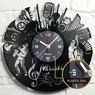 Vinyl Record Music Design Clock Music Wall Art Vinyl Record Clock Home Art Music Lover Gift Vintage Decor Handcrafted Retro Wall Decorations Birthday -Singer Gift Idea - Music Wall Decor - Black
