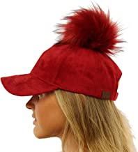 Removable Snap On Off Faux Fur Faux Suede Baseball Adjustable Cap Hat