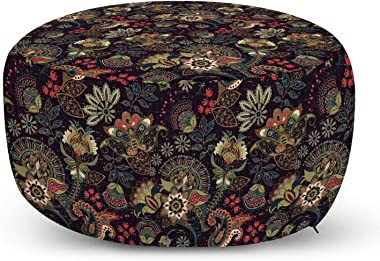 Lunarable Paisley Ottoman Pouf, Persian Bohemian Design Pastel Vintage Eastern Folk Motif Classic, Decorative Soft Foot Rest with Removable Cover Living Room and Bedroom, Charcoal Grey and Multicolor