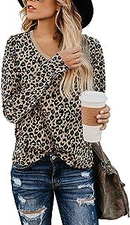 Yidarton Women's T Shirt Leopard Print Tops Short/Long Sleeve Casual Cotton Round Neck Cute Blouse