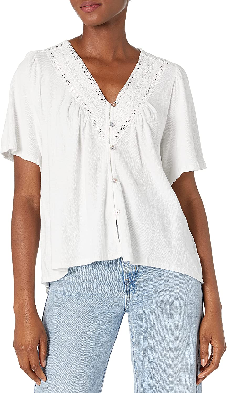 Lucky Brand Women's Flutter Sleeve Button Up Embroidered Boho Blouse