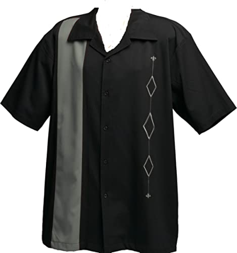 Designs by Attila Mens Retro Bowling Shirt, Big & Tall Black & Gray