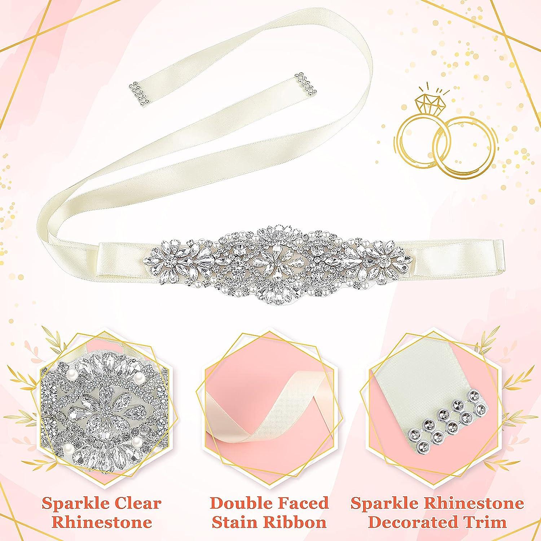 Cheecen 2 Pieces Rhinestone Bridal Belt Crystal Wedding Dress Belt Handmade Bridesmaid Sash Headband for Women Girls Wedding Dress Accessories, 2 Designs