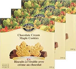 LB Maple Treat Canadian Maple Leaf Chocolate Cream / Creme Snack Cookies Candy Treat (3-Pack) 240Grams 8.5 Ounce