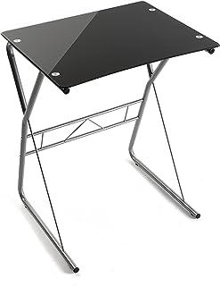 Versa 10330081 Mesa de Ordenador o Escritorio Leipzig Cristal Negro 75 x 475 x 60 cm
