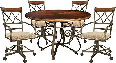 Amazon Com Powell 5 Pc Hamilton Swivel Dining Set Medium Cherry Table Chair Sets