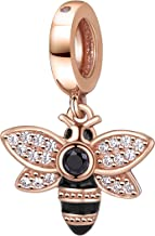 Rose Gold Bee Charms 925 Sterling Silver Insect Animal Dangle Charm with Clear Cz for 3mm Snake Chain Bracelet