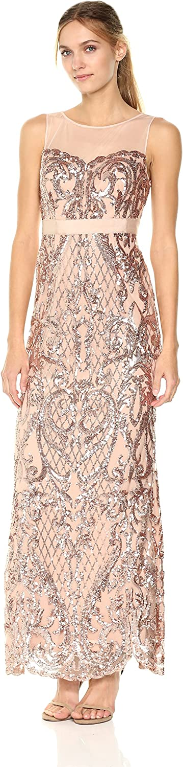 Adrianna Papell Womens Sequin Mermaid Dress with Illusion Neckline Special Occasion Dress