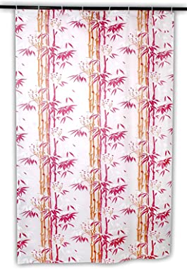 HOMECROWN Bamboo Leaf Design Printed Waterproof Shower Curtain for Bathroom, 7 Feet PVC Curtain with Plastic 8 Hooks – 54 Inc