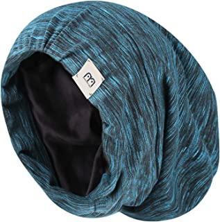 YANIBEST Extra Large Adjustable Satin Lined Slouchy Beanie Sleep Cap for Dry Hair and Curly Hair Stay on All Night 2019(one Size, Blue)