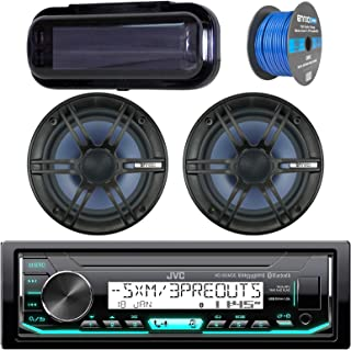JVC In-Dash Marine Boat Bluetooth Radio USB Receiver Bundle Combo with Pair of Enrock 6.5