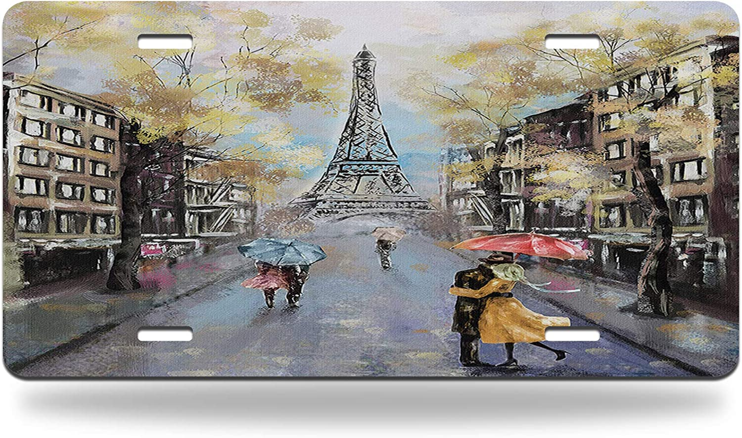 AOYEGO Paris Car Tags Now on sale Oil Painting Lovers Autumn 70% OFF Outlet F Rainy Kiss