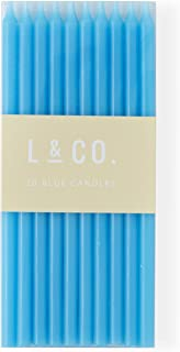 l&co 20 Count Tall Skinny Blue Birthday Cake Candles for Birthday Wedding Party Cakes Decorations