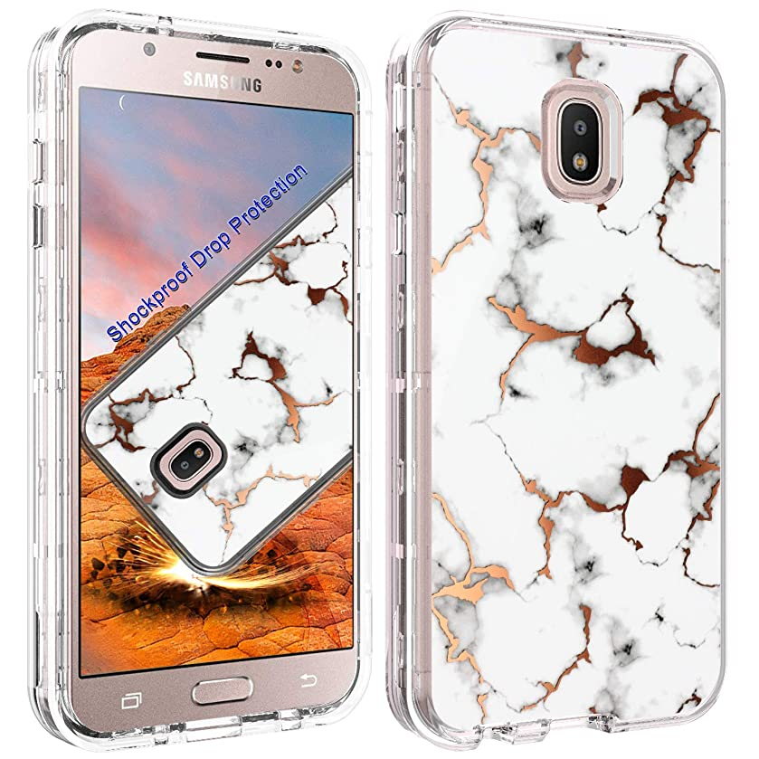 ACKETBOX Galaxy J7/J7 Crown/J7 Refine/J7 2018/J7 Top/J7 Star/J7 Aero Case Shockproof Drop Protection 3in1 Hybrid Heavy Duty PC Case and Bumper+TPU Full Body Protective Cover(White)