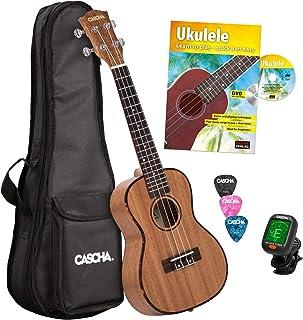 CASCHA HH 2036 GB Premium Ukulele de Concierto, bundle en caoba con cuerdas de AQUILA, bolsa acolchada, formación en ukelele en ingles (+DVD), afinador y 3 púas