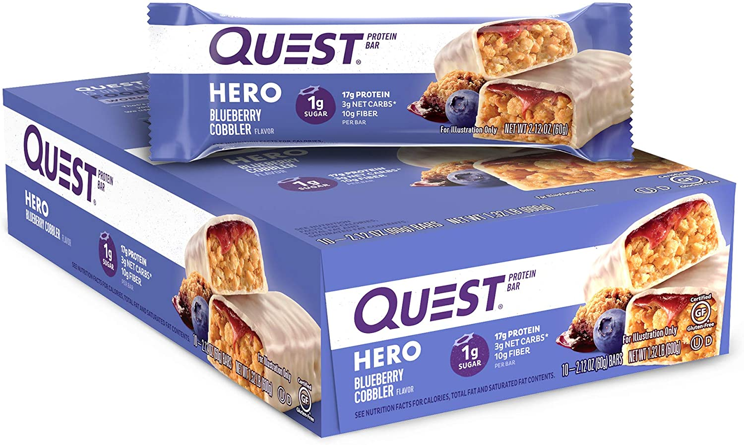 Quest Nutrition Blueberry Cobbler Hero bar Protein Gl Low Carb Ranking TOP8 Surprise price