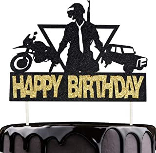 Artczlay Happy Birthday Cake Topper PUBG Video Game Theme Party Cake Decoration Car Motorcycle Black Gold Flash Cake Topper