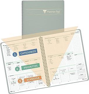 "$32 » Planner Pad Spiral Bound 3-Tier Funnel Down Organizer, October 1st Start, Greenish Grey Cover/Soft Green Ink, 8 1/2"" x 11"""