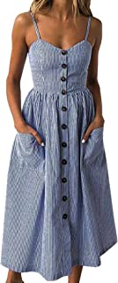 Women's Floral Spaghetti Strap Button Down Summer Midi Dress