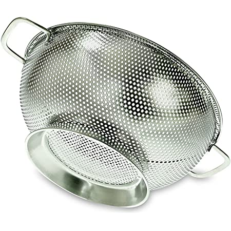 PriorityChef Colander, Stainless Steel Kitchen Strainer For Washing Rice, Pasta And Small Grains, 3 Quart