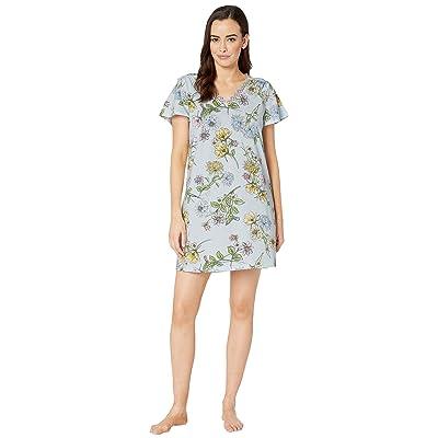 Karen Neuburger Dreamer Short Sleeve Nightshirt (Floral/Light Blue) Women