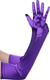 Best Long Opera Party 20s Satin Gloves Stretchy Adult Size Elbow Length Review
