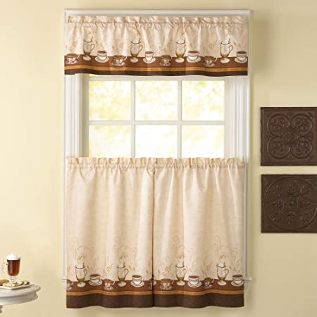Amazon Com Golden Rugs 3pc Kitchen Curtain And Valance Set 1 Swag Valance And 2 Tiers 2 Tiers Width 30 X 36 Each And The Valance Length 60 X36 Coffee Kitchen Dining