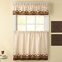 Curtainworks Cafe Au Lait Window Kitchen Curtain Tier and Valance Set, 3-Piece, Beige