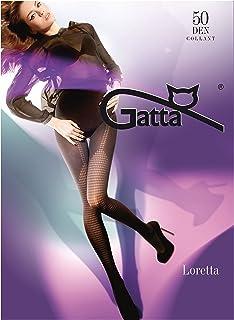 Gatta Loretta 88 50den - gemusterte Strumpfhose schwarz blickdicht mit Overkneemuster