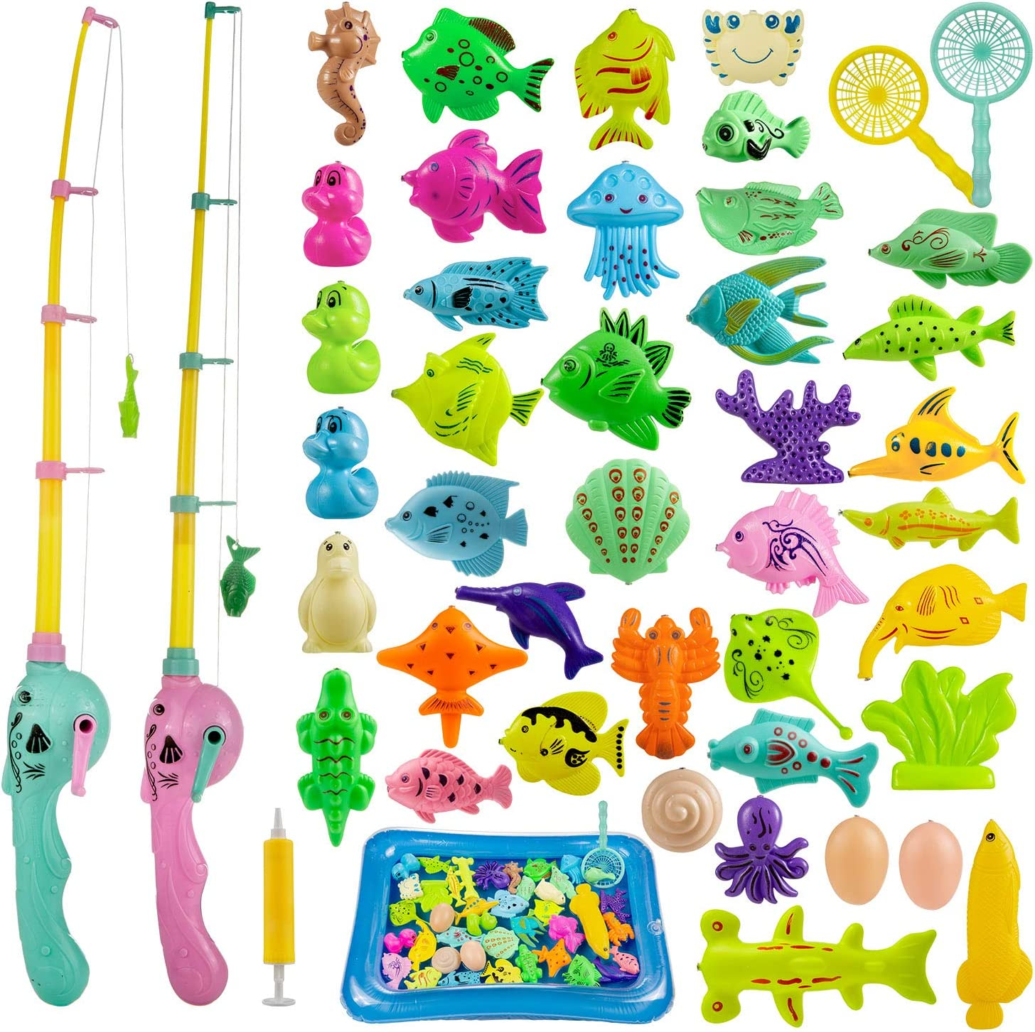 ZWOOS Juguete de Pesca para Niño 44 Piezas Juguete de Pesca Magnético con Caña Flotando Peces para NiñosJuego de Pesca para Baño y Deportes al Aire Libre para Bebe