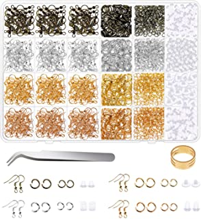 Earring Hooks for Jewelry Making, Shynek 2500Pcs Earring Making Supplies kit with Earring Hooks, Open Jump Rings, Earring ...