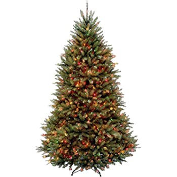 National Tree Company lit Artificial Christmas Tree Includes Pre-Strung Multi-Color Stand Dunhill Fir, 6.5 ft, Multicolored Lights