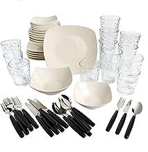 مجموعة أدوات المطبخ كومبو من 45 قطعة من جيبسون، تتضمن أدوات المائدة البيضاء 124322.48r