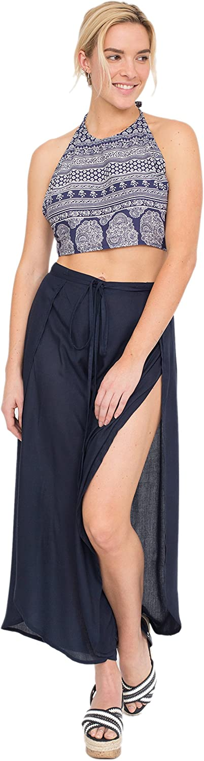 Relaxed Wrap Side Spilt Trousers Navy