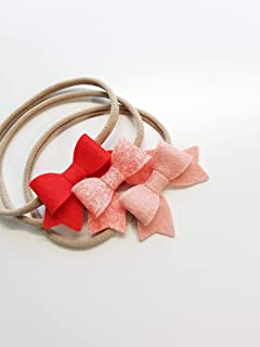 Baby girl headbands Blush Coral MADE IN USA by Vanaguelite