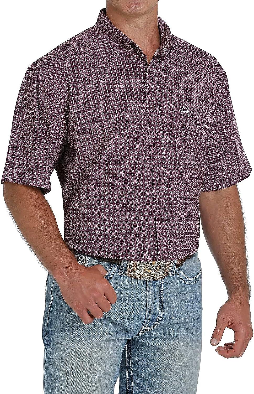 Cinch Men's Arena Flex Purple Geo Print Short Sleeve Western Shirt