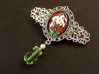 Piccola molletta con motivo bucaneve in argento rosso verde