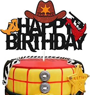Ohiviaaa Cowboy Cake Topper Dallas Cowgirl Helmet boot Shooting Mexican Theme for Western Kids Boy Girl Happy Birthday Par...