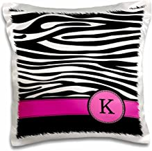 3dRose pc_154282_1 Letter K Monogrammed Black and White Zebra Stripes Animal Print with Hot Pink Personalized Initial Pillow Case, 16 x 16