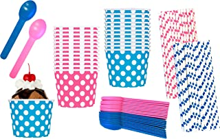 Gender Reveal Ice Cream Party Kit - 12 Ounce Pink and Blue Dessert Treat Cups - Heavyweight Plastic Spoons - Polka Dot Paper Straws - 24 Each Cups and Spoons and 50 Straws