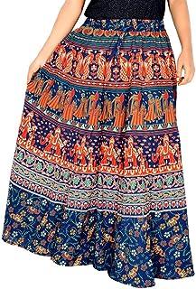 Rajvila 38 Inch Length Women's Cotton Printed Regular Long Elasti Skirt for Women (E_E38NT_0007)