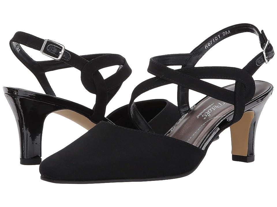 Vintage Style Shoes, Vintage Inspired Shoes Walking Cradles Rosie Black Micro High Heels $120.00 AT vintagedancer.com